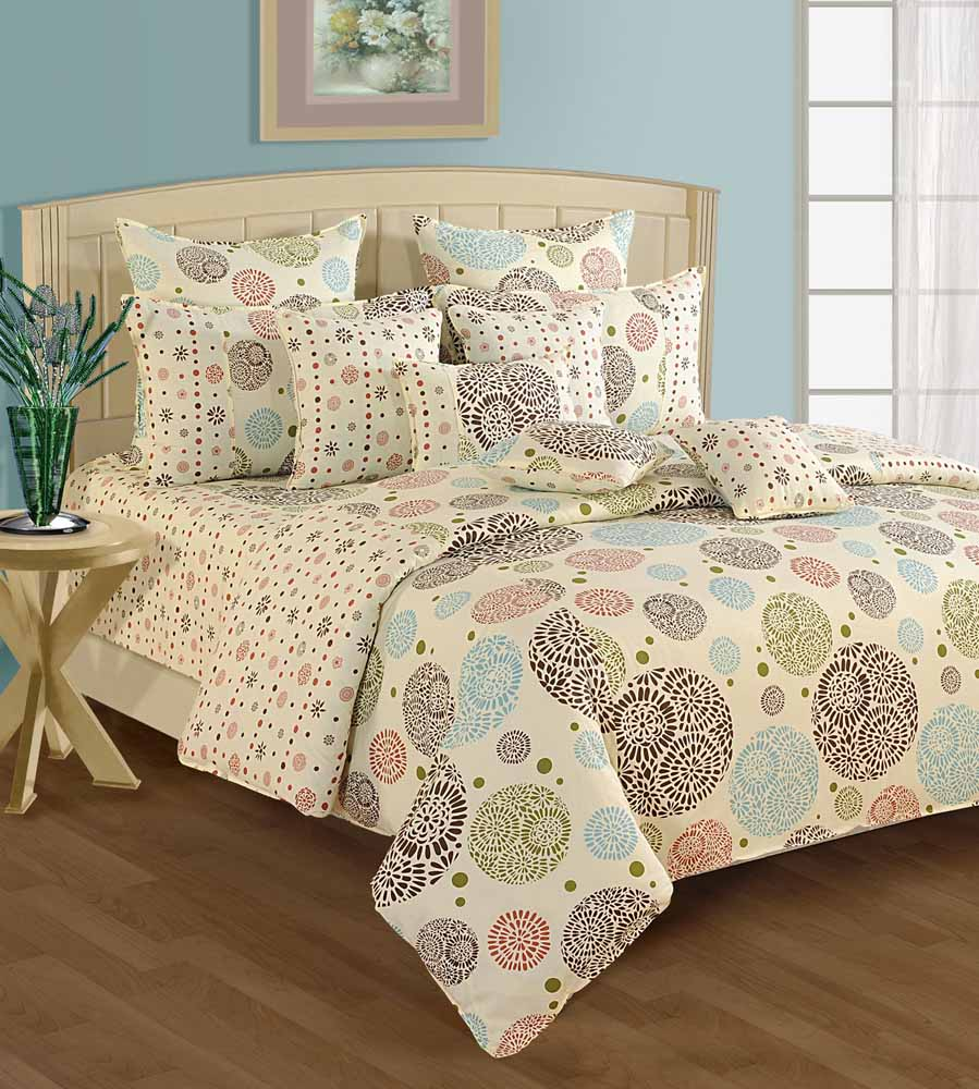 Swayam Cream and Brown Colour Ethnic Bed Sheet with Pillow Covers