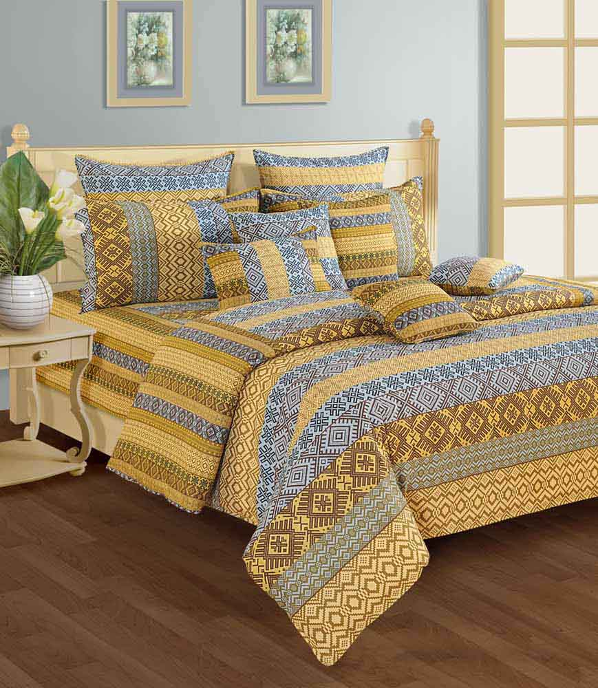 Bedsheets-Swayam Blue and Brown Colour Geometrical Pattern Bed Sheet with Pillow Covers