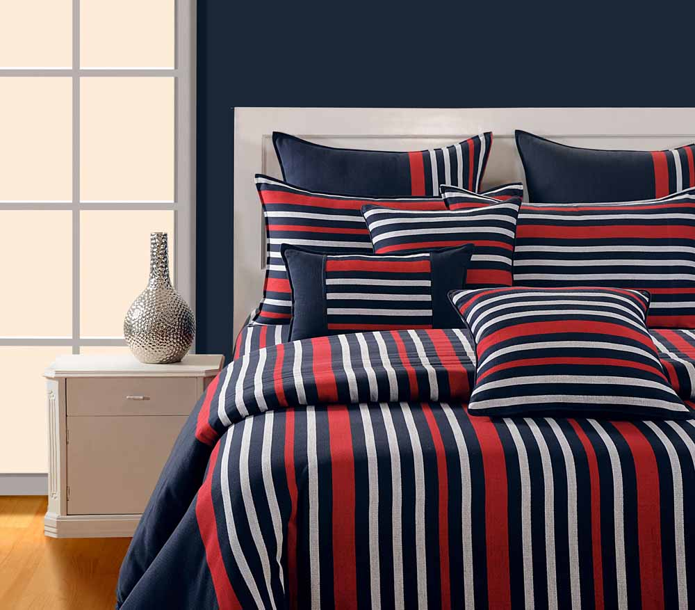 Swayam Navy Blue and Red Colour Stripes Bed Sheet with Pillow Covers