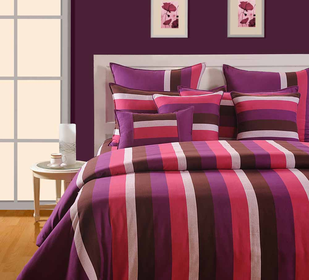 Swayam Purple and Pink Colour Stripes Bed Sheet with Pillow Covers