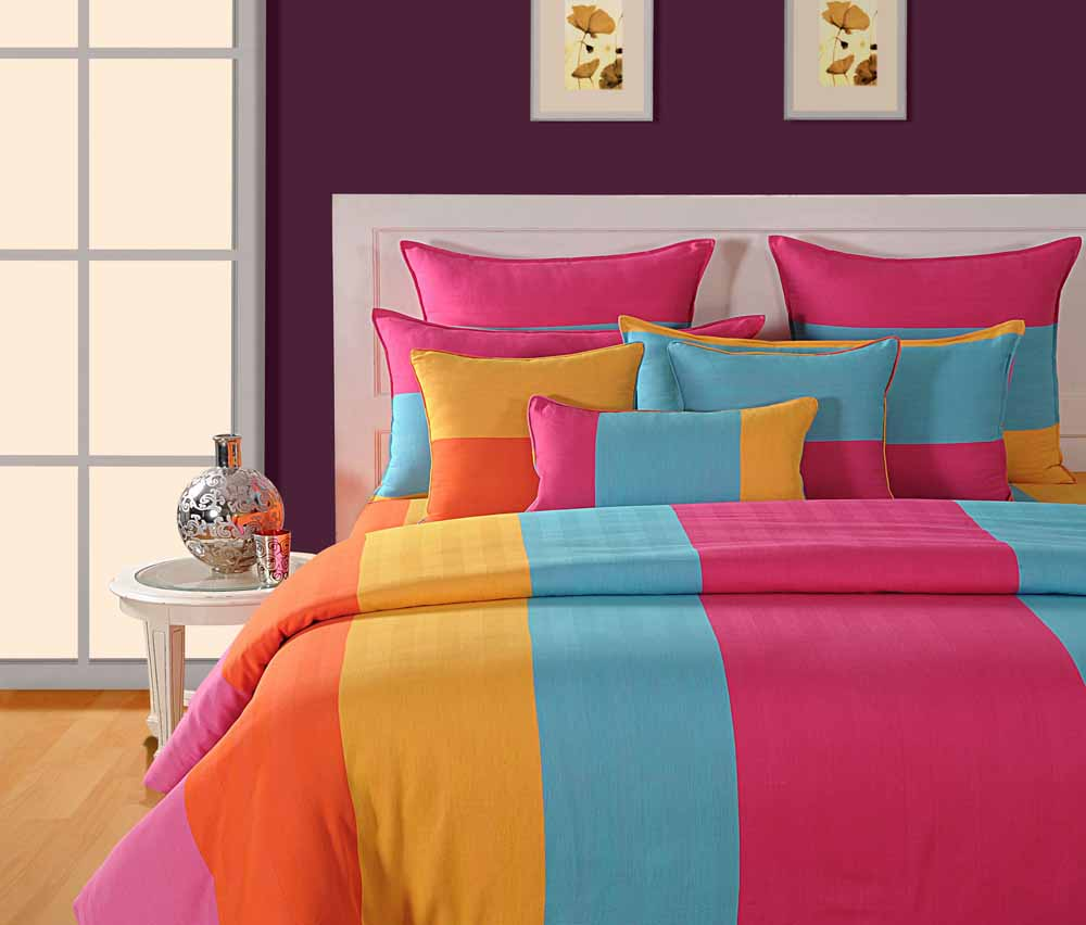 Swayam Yellow and Pink Colour Stripes Bed Sheet with Pillow Covers