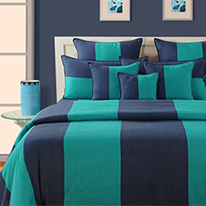 Swayam Blue and Green Colour Stripes Bed Sheet with Pillow Covers