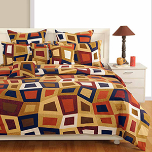 Bedsheets-Swayam Brown and Blue Colour Geometrical Pattern Bed Sheet with Pillow Covers
