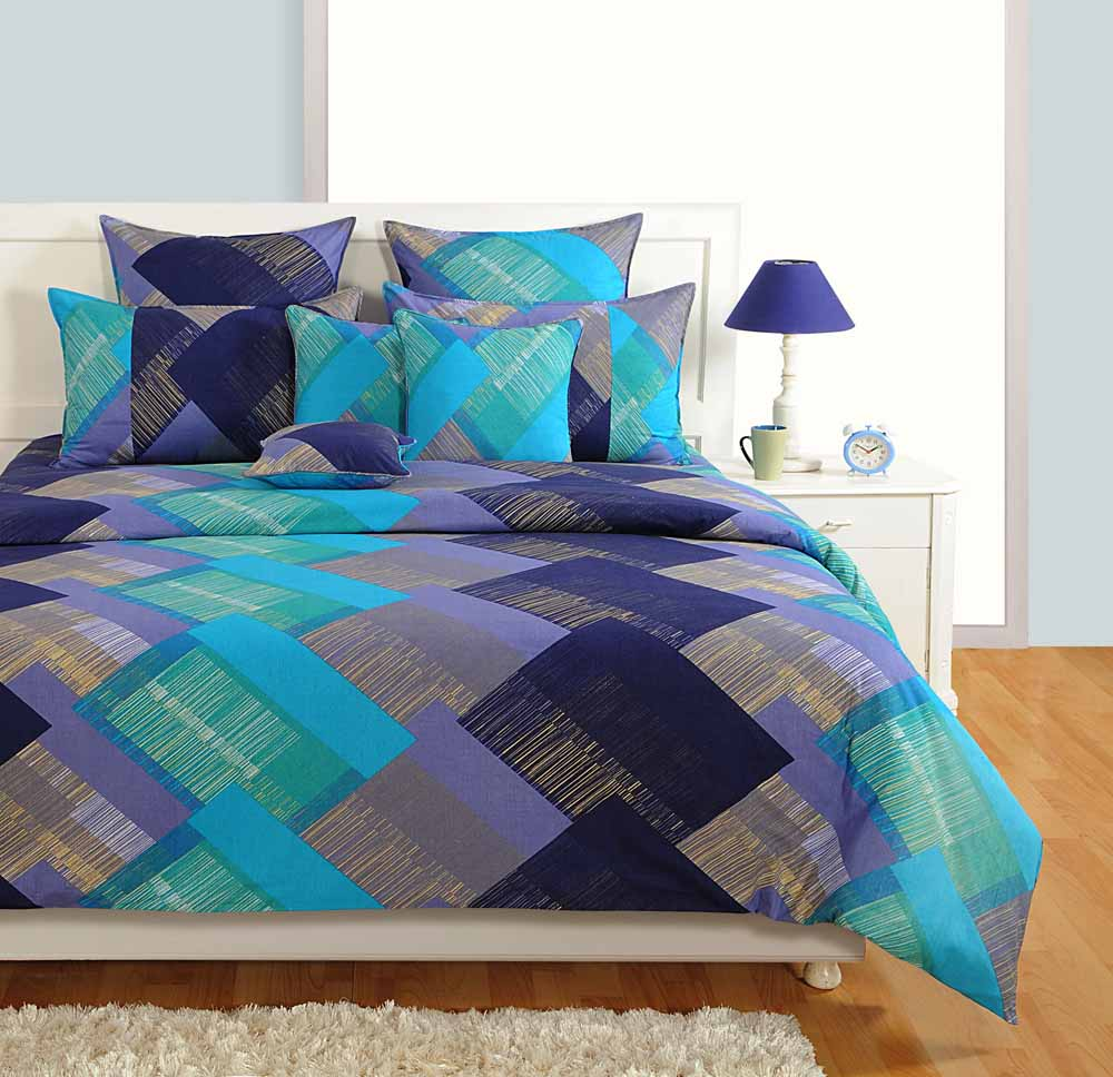 Bedsheets-Swayam Purple and Blue Colour Square Patch Pattern Bed Sheet with Pillow Covers