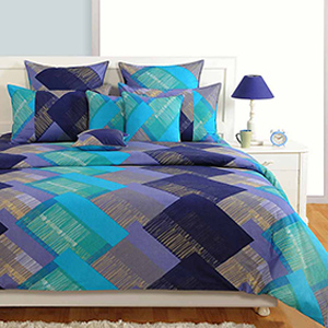 Swayam Pink and Blue Colour Square Patch Pattern Bed Sheet with Pillow Covers