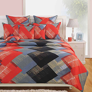 Swayam Red and Grey Colour Square Patch Pattern Bed Sheet with Pillow Covers