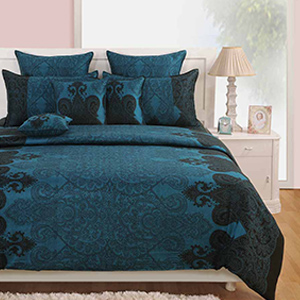 Swayam Black and Blue Colour Ethnic Bed Sheet with Pillow Covers