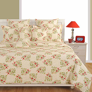 Swayam Off White and Red Colour Floral Bed Sheet with Pillow Covers