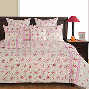 Swayam Off White and Blue Colour Floral Bed Sheet with Pillow Covers