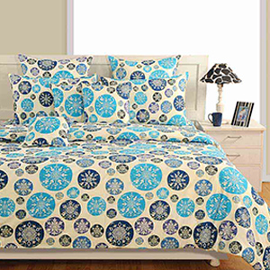 Swayam Navy Blue Colour Bed Sheet with Pillow Covers