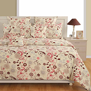 Bedsheets-Swayam Off White and Brown Colour Floral Bed Sheet with Pillow Covers