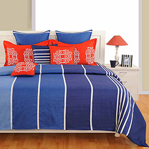 Swayam Blue and White Colour Stipes Pattern Bed Sheet with Pillow Covers