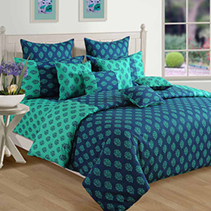 Swayam Turquoise and Blue Colour Ethnic Bed Sheet with Pillow Covers