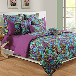 Swayam Purple and Blue Colour Floral Bed Sheet with Pillow Covers