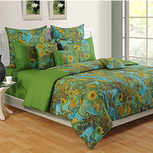Swayam Green and Blue Colour Ethnic Bed Sheet with Pillow Covers