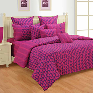Bedsheets-Swayam Pink and Magenta Colour Ethnic Bed Sheet with Pillow Covers