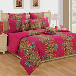 Swayam Magenta and Yellow Colour Floral Bed Sheet with Pillow Covers