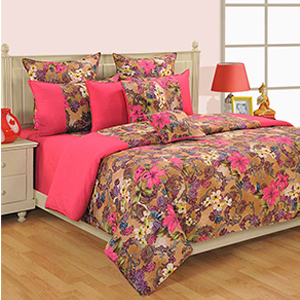 Swayam Pink and Cream Colour Floral Bed Sheet with Pillow Covers