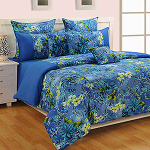 Swayam Blue and Yellow Colour Floral Bed Sheet with Pillow Covers