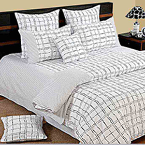 Bedsheets-Swayam White and Black Colour Check Pattern Bed Sheet with Pillow Covers