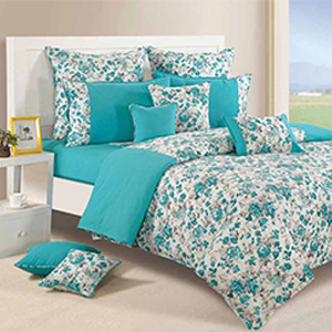 Swayam Teal and White Colour Floral Bed Sheet with Pillow Covers