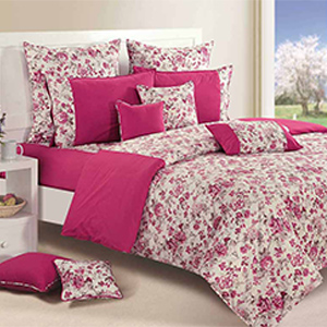 Bedsheets-Swayam Magenta and Off White Colour Floral Bed Sheet with Pillow Covers