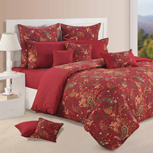 Swayam Wine and Yellow Colour Floral Bed Sheet with Pillow Covers