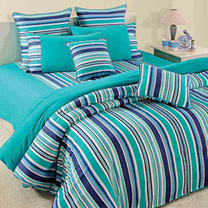 Bedsheets-Swayam Turquoise and Blue Colour Stripes Bed Sheet with Pillow Covers
