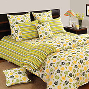 Bedsheets-Swayam Yellow and Green Colour Floral Bed Sheet with Pillow Covers
