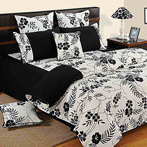 Bedsheets-Swayam Black and White Colour Floral Bed Sheet with Pillow Covers