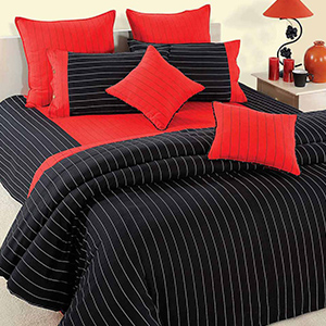 Bedsheets-Swayam Black and Red Colour Stripes Bed Sheet with Pillow Covers