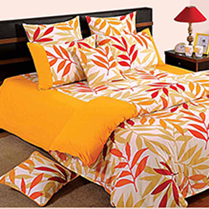 Swayam Yellow and Green Colour Leaf Pattern Bed Sheet with Pillow Covers