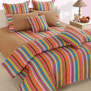 Swayam Beige and Teal Colour Stripes Bed Sheet with Pillow Covers