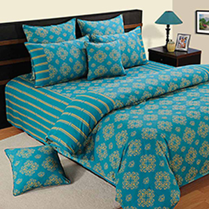 Swayam Turquoise and Gold Colour Ethnic Bed Sheet with Pillow Covers