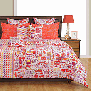 Bedsheets-Swayam Orange and White Colour Text Print Bed Sheet with Pillow Covers