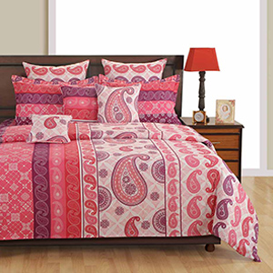 Bedsheets-Swayam Pink and Red Colour Ethnic Bed Sheet with Pillow Covers
