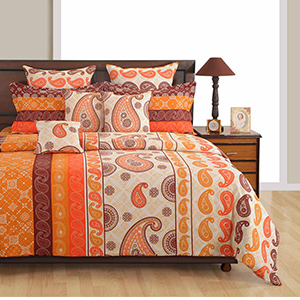 Bedsheets-Swayam Orange and Brown Colour Ethnic Bed Sheet with Pillow Covers