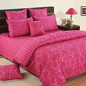 Bedsheets-Swayam Pink and Magenta Colour Floral Bed Sheet with Pillow Covers
