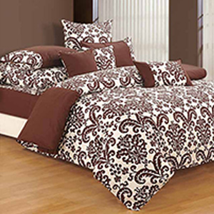Bedsheets-Swayam Brown and Off White Colour Floral Bed Sheet with Pillow Covers