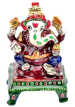 Metal Idols-Hand-Painted Enameled Metal Ganapati
