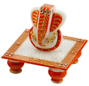 Marble Idols-Gold Embossed Lord Ganesha with Chowki