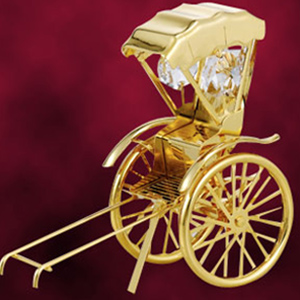 Automobiles-24 Kt Gold Plated Rickshaw Studded with Swarovski Crystals