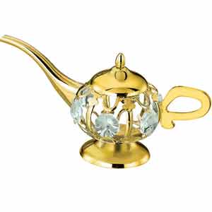 24K Gold Plated Aladdin Lamp Studded with Swarovski Crystals