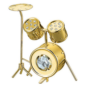 Musical Instruments-24K Gold Plated Drum Studded with Swarovski Crystals