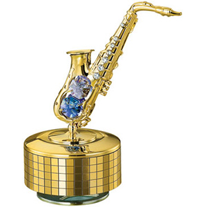 Musical Instruments-24K Gold Plated Musical Base with Saxophone Studded with Swarovski Crystals