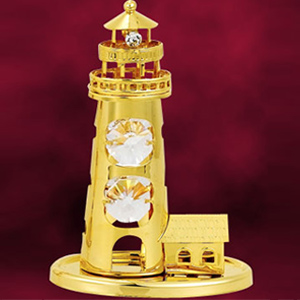 24 Kt Gold Plated Light House Studded with Swarovski Crystals