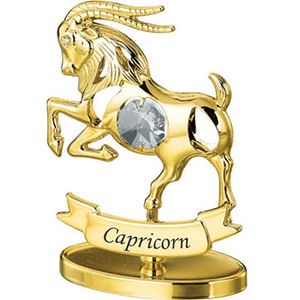 24K Gold Plated Capricorn Zodiac Sign Studded with Swarovski Crystals