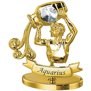 24K Gold Plated Aquarius Zodiac Sign Studded with Swarovski Crystals