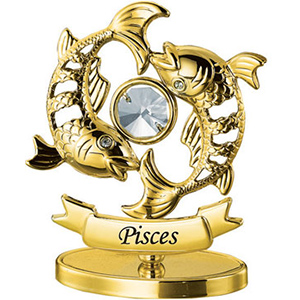 24K Gold Plated Pisces Zodiac Sign Studded with Swarovski Crystals
