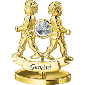 Zodiac Sign-24K Gold Plated Gemini Zodiac Sign Studded with Swarovski Crystals